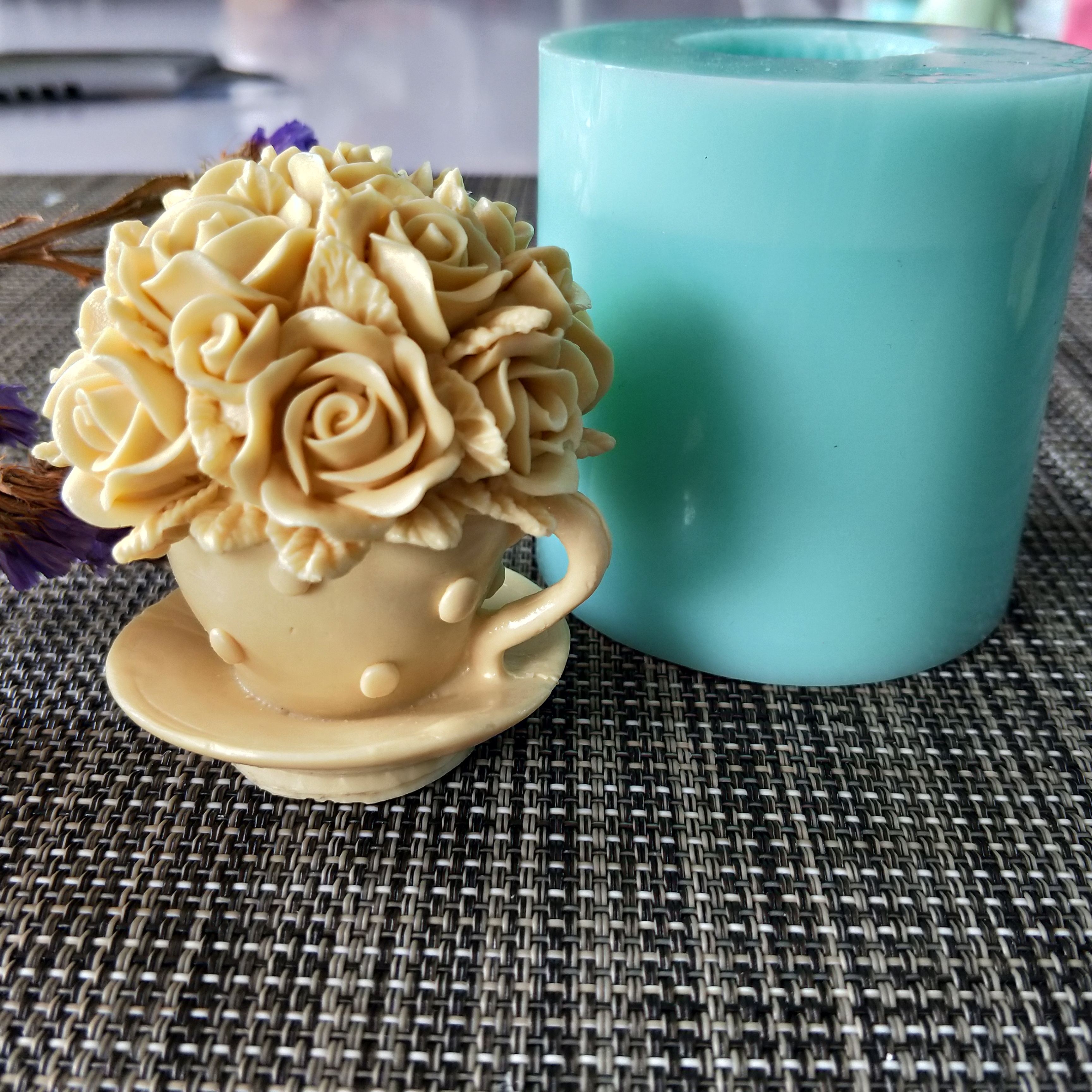 HC0120 PRZY Flower rose cup silicone mold soap mould Flower handmade soap making molds candle silicone mold resin clay mold