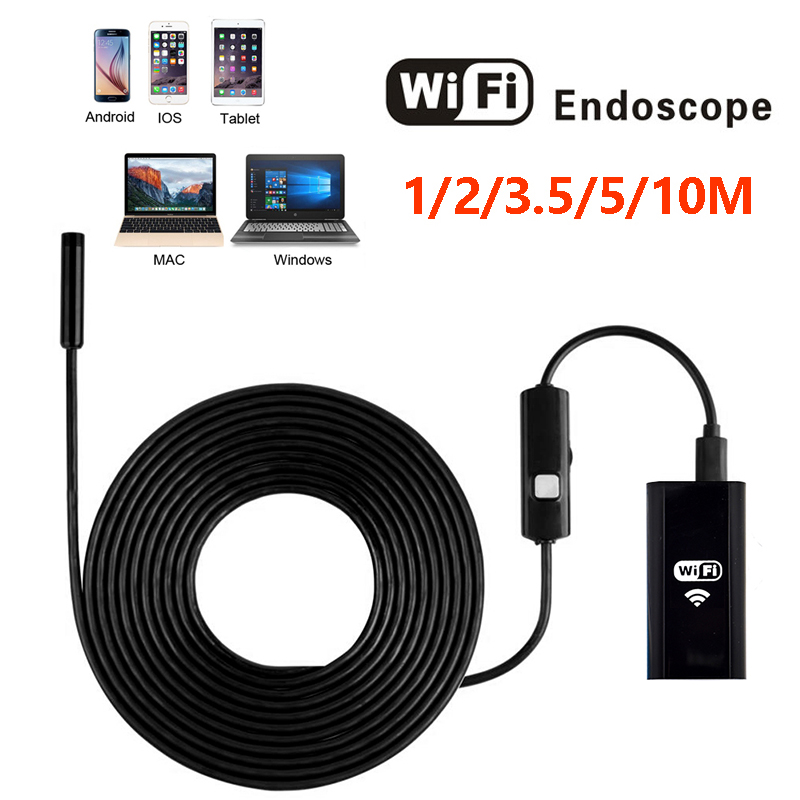 Wifi Endoscope Camera HD 8mm USB Endoscope Hard Cable Mini Camera Phone Android Inspection Camera Led Surveillance Tube Pipe