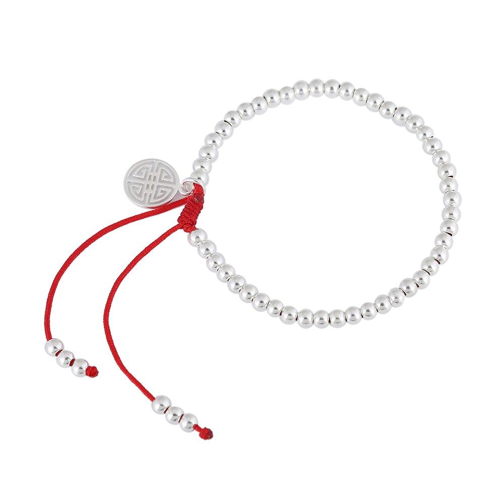 Neue S925 Sterling Silber Perlen Armband Handgemachte Glück Roten Seil Armbänder Armreifen 1560