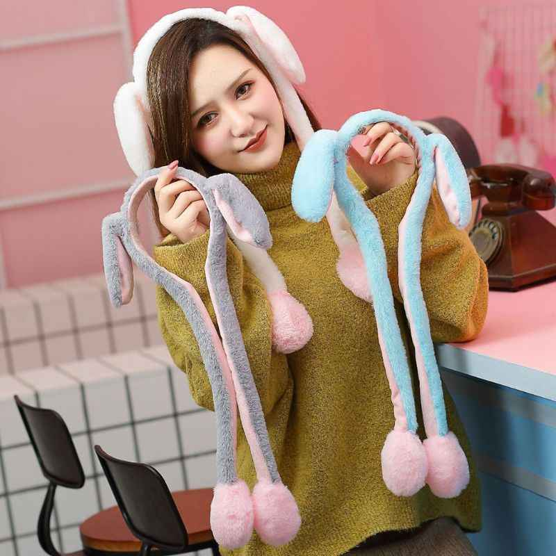 Unisex Winter Fluffy Plush Headband Cute Moving Airbag Rabbit Ears Ear Warmer Hair Hoop Gift Party Favors Dance Toy Photo Props