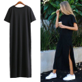 Summer Women Black cotton casual Bodycon Side High Slit Long T shirt Women Sex Dress Short Sleeves Black New Fashion Clothing