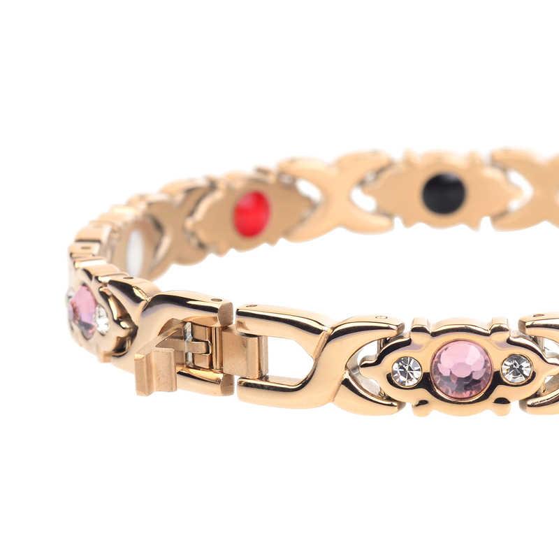 リトルカエルクリスタル宝石女性磁気ブレスレット健康エネルギーゴールドファッションジュエリー女性ステンレス鋼ブレスレット腕輪