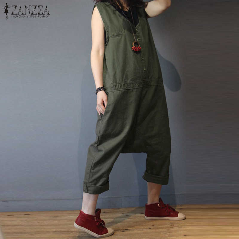 2019 Plus ขนาด ZANZEA ลำลองสตรีผ้าลินินหลวมยาว Drop Crotch Overalls Harem Jumpsuits Playsuit