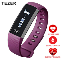 TEZER Top Sports Heart Rate Monitor Oxygen Oximeter Blood Pressure Smart Bracelet For IOS Android Passometer