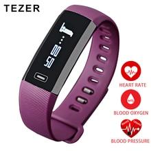 Tezer Топ спортивный монитор сердечного ритма кислорода оксиметр артериального давления смарт-браслет для IOS Android шагомер фиолетовый/черный Saat