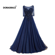 Doragrace Elegant A Line Floor-Length Applique Beaded Chiffon Short Sleeve Long Evening Dresses Plus Size