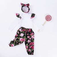 10 98 Per Vieeolove Baby Girls Sets Spring Fly Sleeve T Shirt Floral Pants Bow