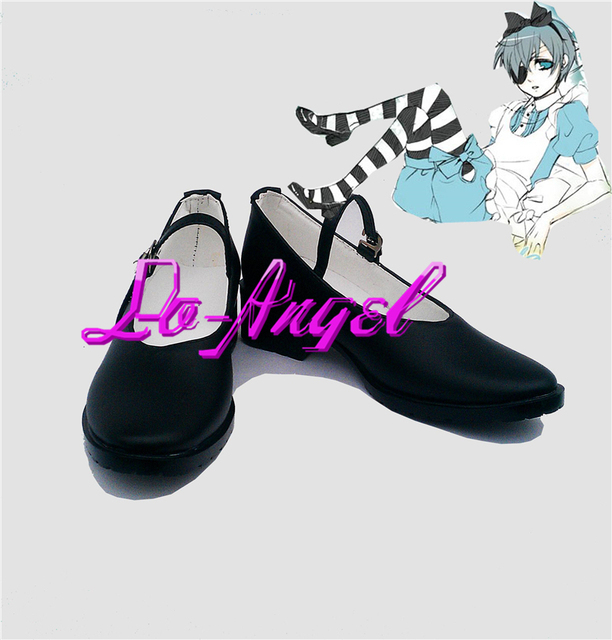 Negro Bulter de butler / Kuroshitsuji Ciel en de las maravillas Cosplay Shoes Boots tamaño modificado para requisitos particulares