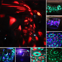 Car LED Music Lights DJ Mini RGB 18w LED MP3 Club Disco Party Crystal Magic Ball Stage Effect Rotating Bulb With USB Interface