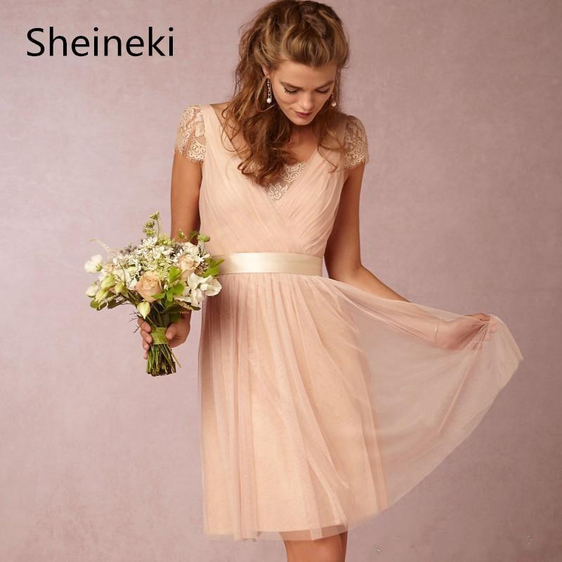 Sexy Einfache Sheer V-ausschnitt Strand Brautjungfer Kleider Peach Backless  Cap Sleeve Tee-Länge f39d18b9b7