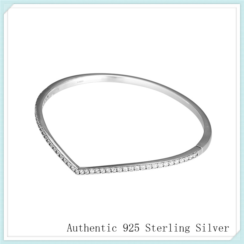 925 Sterling Silver Shimmering Wish Bangle Bracelet Fit Charm Bracelets for Women silver 925 jewelry Pulseras