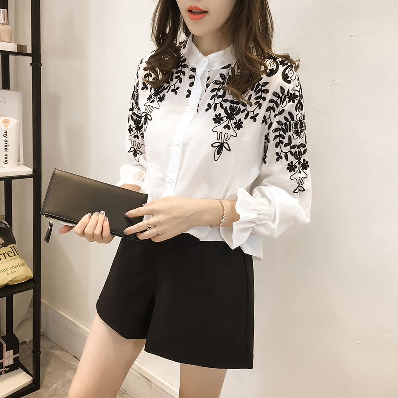 Embroidery   Blouse     Shirt   Cotton Linen Women   Blouses   Stand Collar White Black Embroidered Tops Female Clothing Camisas Femininas