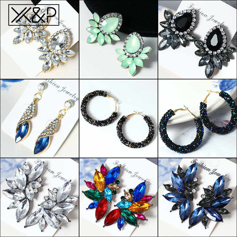 X&P Fashion Vintage Korean Crystal Women's Drop Earrings for Women Geometric Cubic Zirconia Dangle Earring Rhinestone Jewelry
