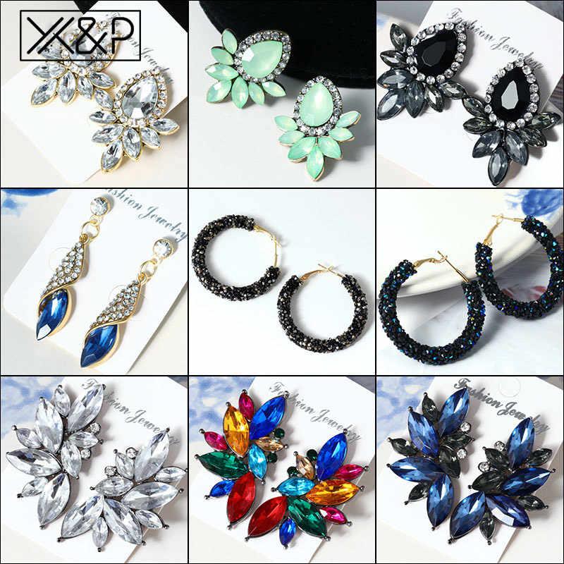 X&P Fashion Vintage Korean Crystal Women's Drop Earrings for Women Geometric Cubic Zirconia Dangle Earring Rhinestone Jewelry