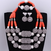 Top Quality Silver Balls Necklace Dubai Indian Wedding Jewelry Set Orange Coral Necklace Earrings Bangle Jewelry