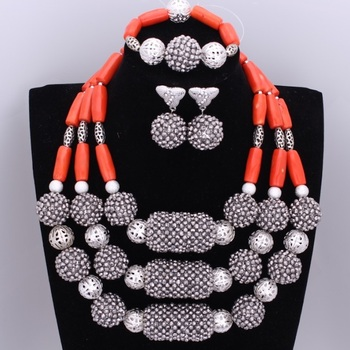 African Wedding Beads Set Silver Red Nature Coral Beads Jewelry Sets For Brides Nigerian Necklaces Set for Women Free Shipping