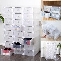 5 pçs dobrável caixa de sapato de plástico transparente gaveta sapatos de armazenamento em casa organizador gaveta caixa de armazenamento empilhável