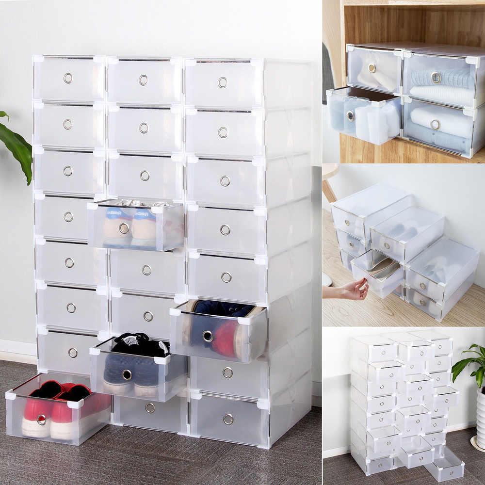 20PCS Foldable Clear Plastic Shoe Box Transparent Drawer Shoes Home Storage  Box Organizer Drawer Stackable Storage Box