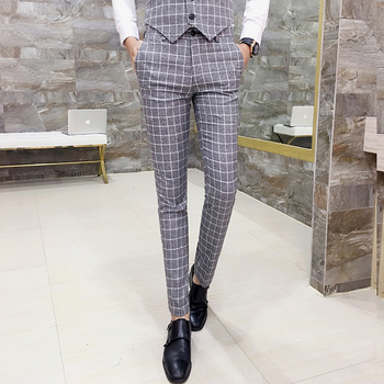 Mens Checked Pants Slim Fit Men Office Trousers Men Formal Pant Plaid Pantaloni Uomo Casual Men Dress Suit Pants Pantalon Homme