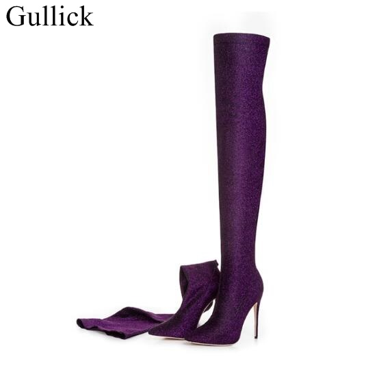 Sexy High Heel Sock Boots Women Pointed Toe Sequined Stretch Over The Knee Boots 2018 New Fashion Long Winter Boots Dress Shoes pointed toe over the knee long boots apricot black gray faux suede thin high heel long boots sexy stretch fabric lady sock boots