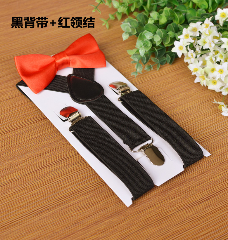 80sets/lot children's candy color Suspenders and bowtie sets-in Men's Suspenders from Apparel Accessories    1