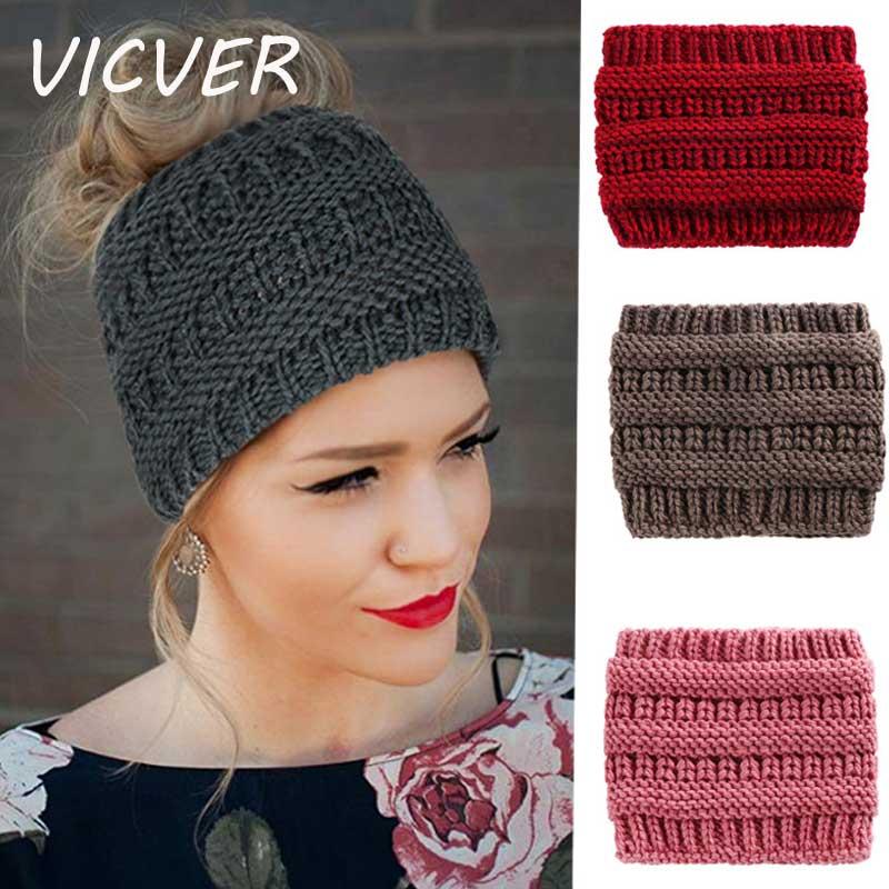 Ponytail Beanie Women Fashion Knit Holey Warm Messy Bun Hats Outdoor Crochet Caps Ladies Skullies Beanies Solid Ponytail Hat