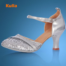 KULLA new arrival sliver heel ballroom tango latin dance shoes for women dancing salsa shoes high-heeled adult soft outsole L50