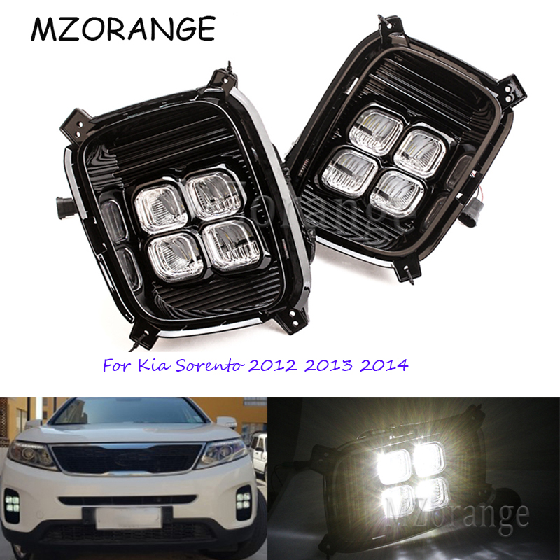 Day Light Daytime Running Lights For Kia Sorento 2012 2013 2014 12V ABS LED DRL Fog