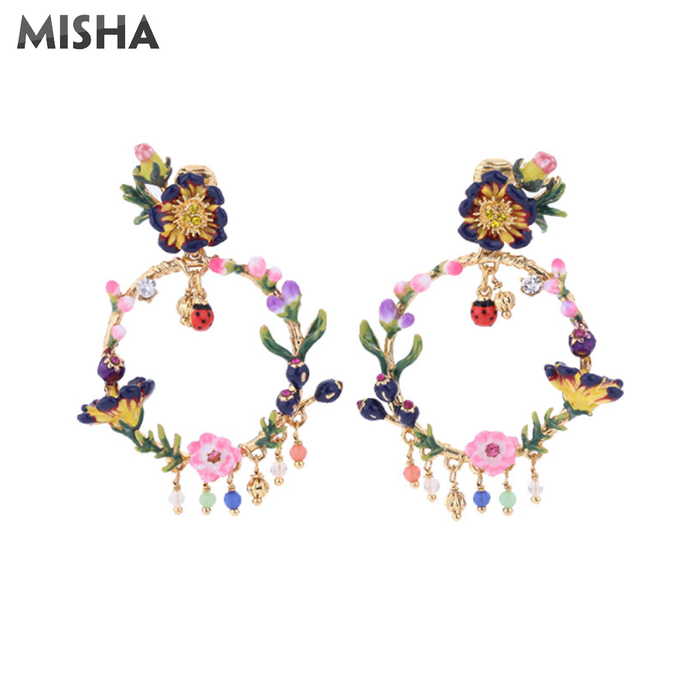 MISHA luxe femmes boucles d'oreilles à la main émail glaçure fleurs simulé gemme bijoux Vintage Style cadeaux pour les filles 507