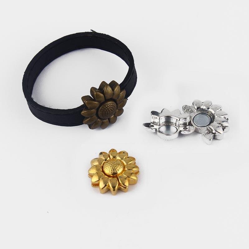 5 Ensembles Antique Bronze Argent Or De Tournesol Forte Fermoir Magnétique  Bracelet Résultats Pour 5mm 10mm Plat en cuir Cordon d50819962dad