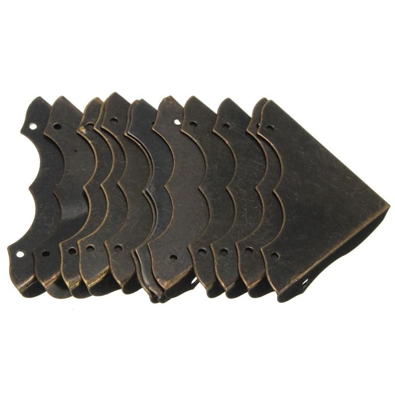 MTGATHER 12pcs Iron Decorative Antique Brass Jewelry Wine Gift Box Wooden Corner Protector Guard 55*44*30mm Hot Sale