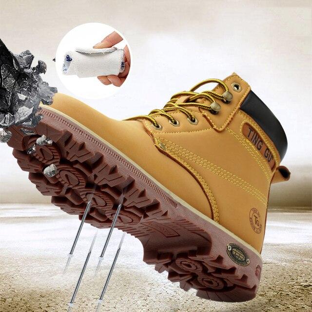 Erkekler Için güvenlik Ayakkabıları Çelik Ayak Nefes Deri Iş Çizme kaymaz Çizmeler Ayakkabı Endüstriyel ve Inşaat için