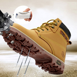 Safety Shoes For Men Steel Toe Breathable Leather Work Boot Anti-slip Boots Shoes for Industrial and Construction