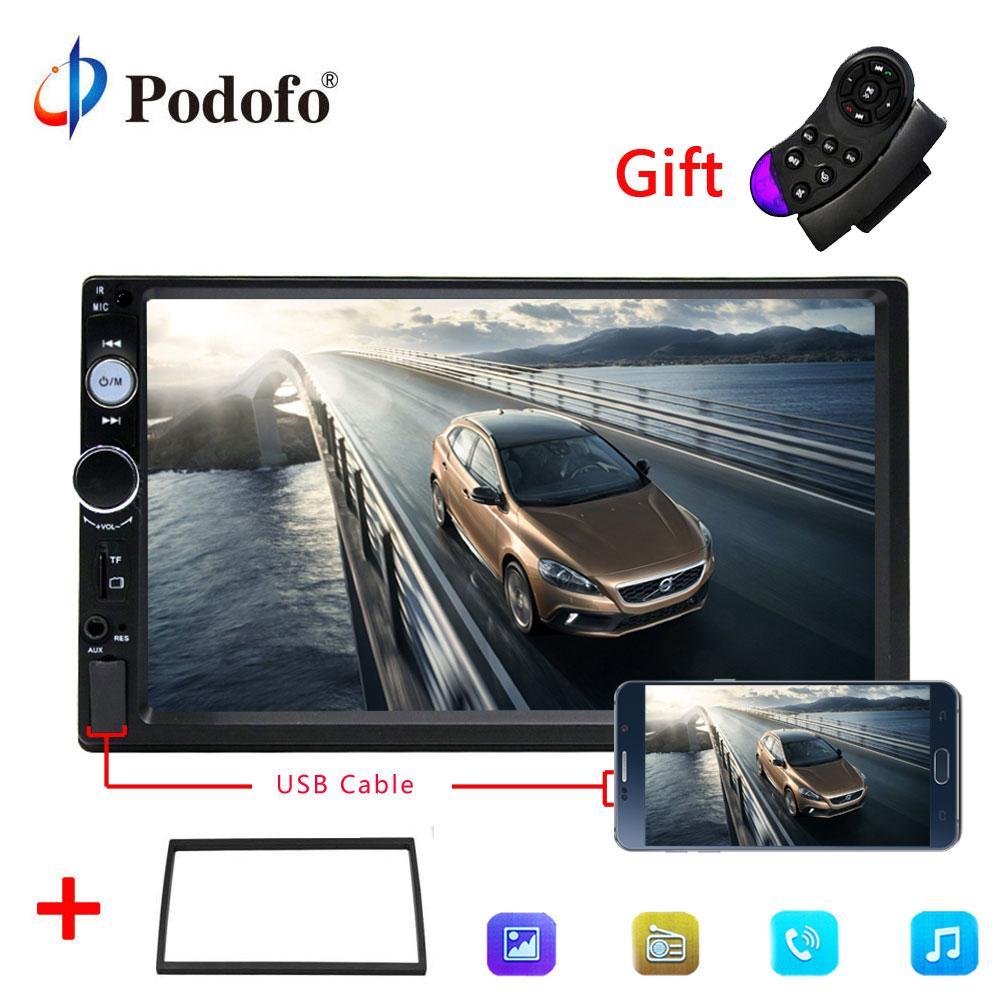 Podofo 2din car radio 7 HD Player MP5 Touch Screen Digital Display Bluetooth Multimedia USB Mirror Link Backup Camera Autoradio