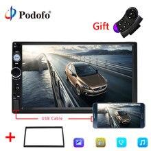 Podofo 2din автомобиля Радио 7 «hd-плеер MP5 Сенсорный экран цифровой Дисплей Bluetooth USB Multimedia Зеркало Ссылка резервного копирования Камера Авторадио