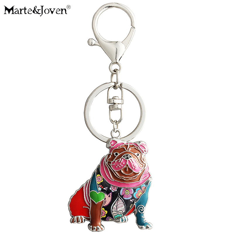 Marte&Joven Personalized English Bulldog Keychain Gifts For Women Girls Dog Lovers Unique Colorful Enamel Dog Charm Keyrings