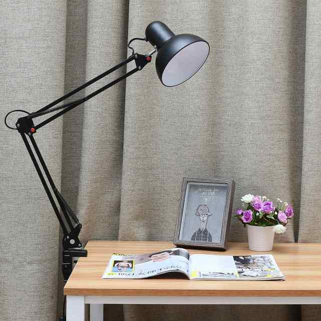 110 240V Flexible Swing Arm Clamp Mount Table Lamp Office Study Home Desk  Light Eye
