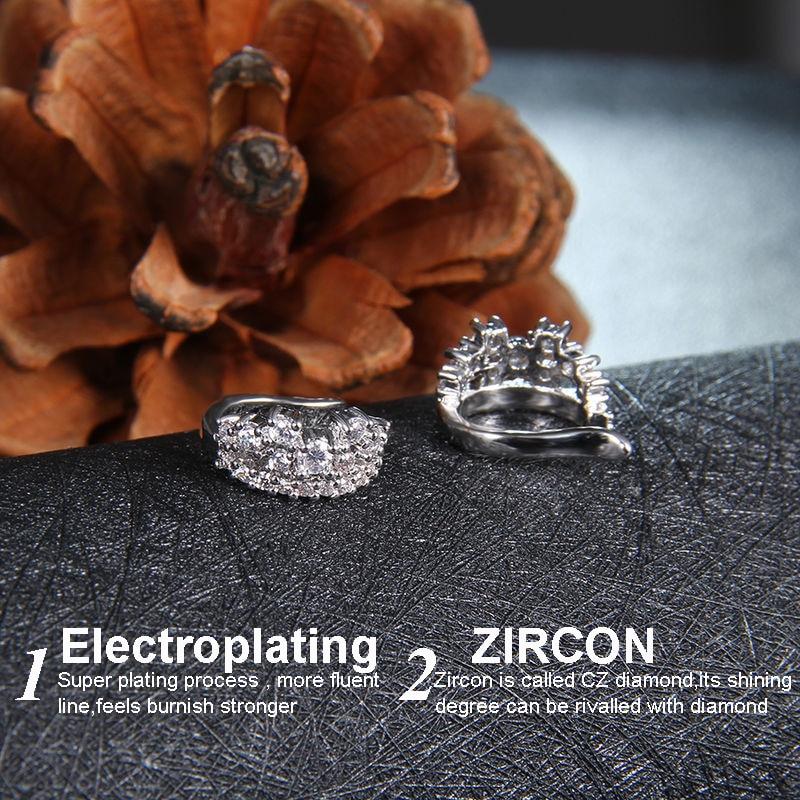 Mode 1ct Cubic Zirconia Anting Klip Pernikahan Anniversary Perhiasan - Perhiasan fashion - Foto 6