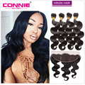 Malaysian Body Wave With Closure 13x4 Ear To Ear Lace Frontal Closure With Bundles Connie Virgin Human Hair 4 Pcs With Closure