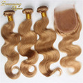 #27 de cor pura onda do corpo do cabelo brasileiro com fechamento 4x4 rendas cabelo humano brasileiro 7A 4 pçs/lote loira 3 pacotes e fechamento