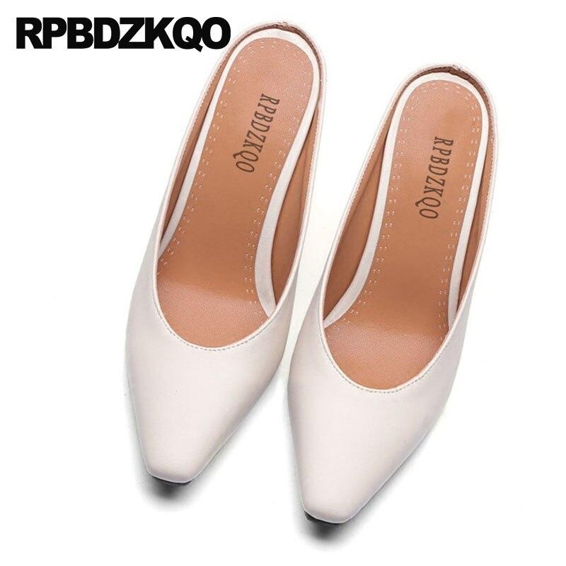 2018 Moderne Größe 4 Schuhe Maultiere Karree 34 Pumpen schwarzes High Heels Pantoffel gelb Beige Sexy grün Chunky Frauen Designer Beige China Für Gelb Grün rnSFr0