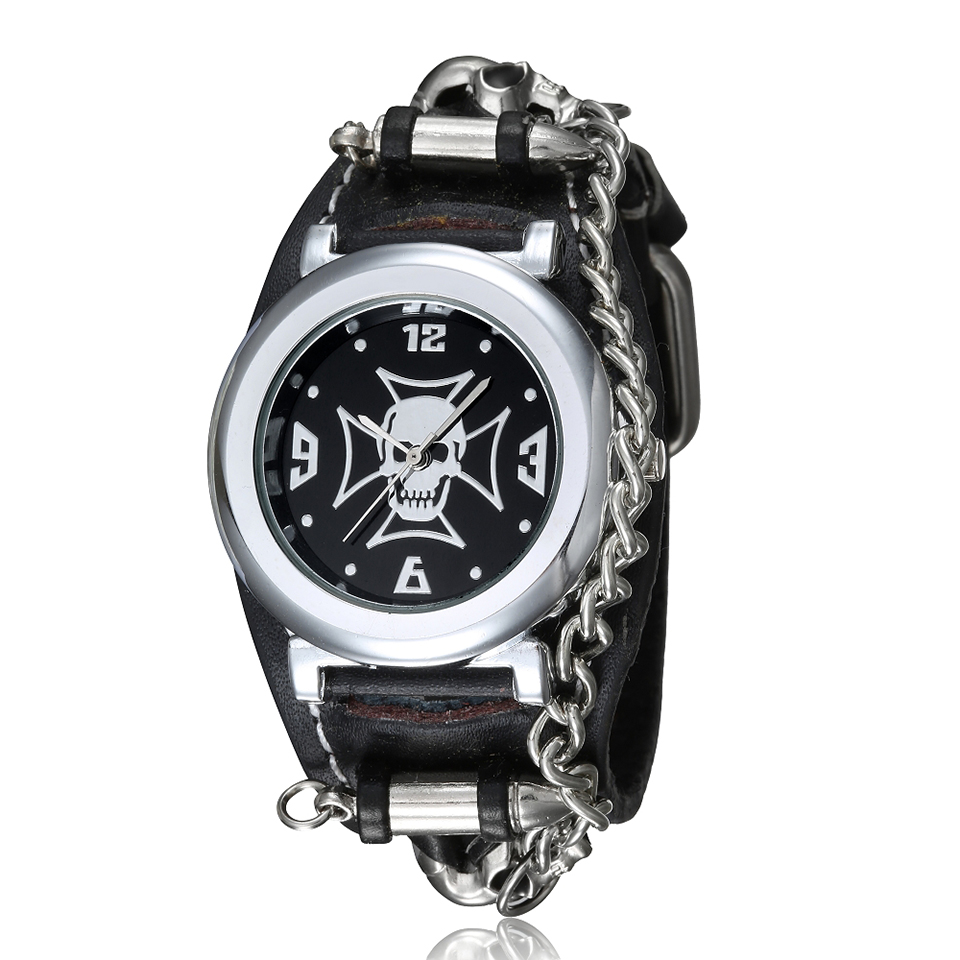 Black & White 3D Skull Men Watch Rivet Chain Skeleton Cowboy Men's Wrist Watches Punk Rock Singer Quartz Watch Male Wristwatch punk rock chain skull women men bracelet cuff gothic wrist watch 928