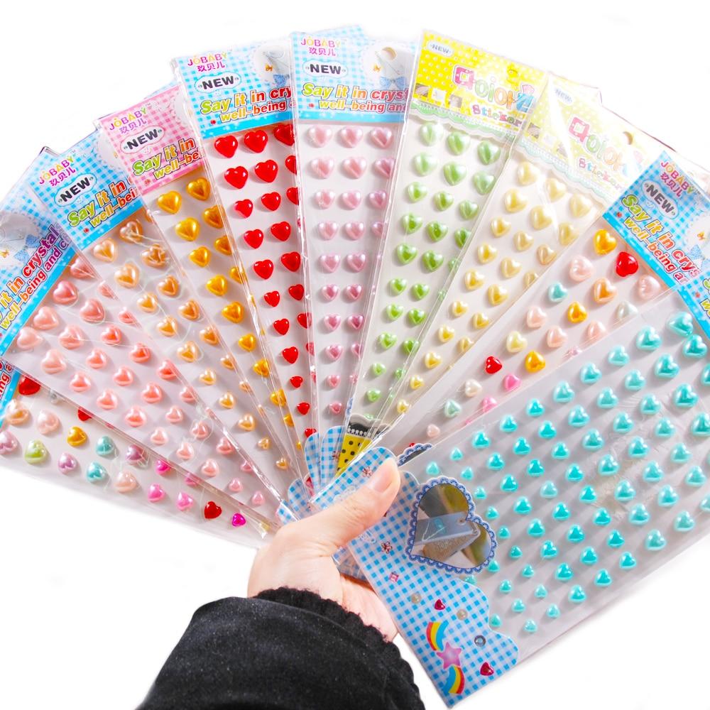 1 Copriletto Scrapbook A Forma Di Cuore Imitazione Perle Adesivi Acrilico Auto Adesivo Personalizzato Adesivi, Film E Cover Per Notebook Giocattoli Per Bambini Adesivi