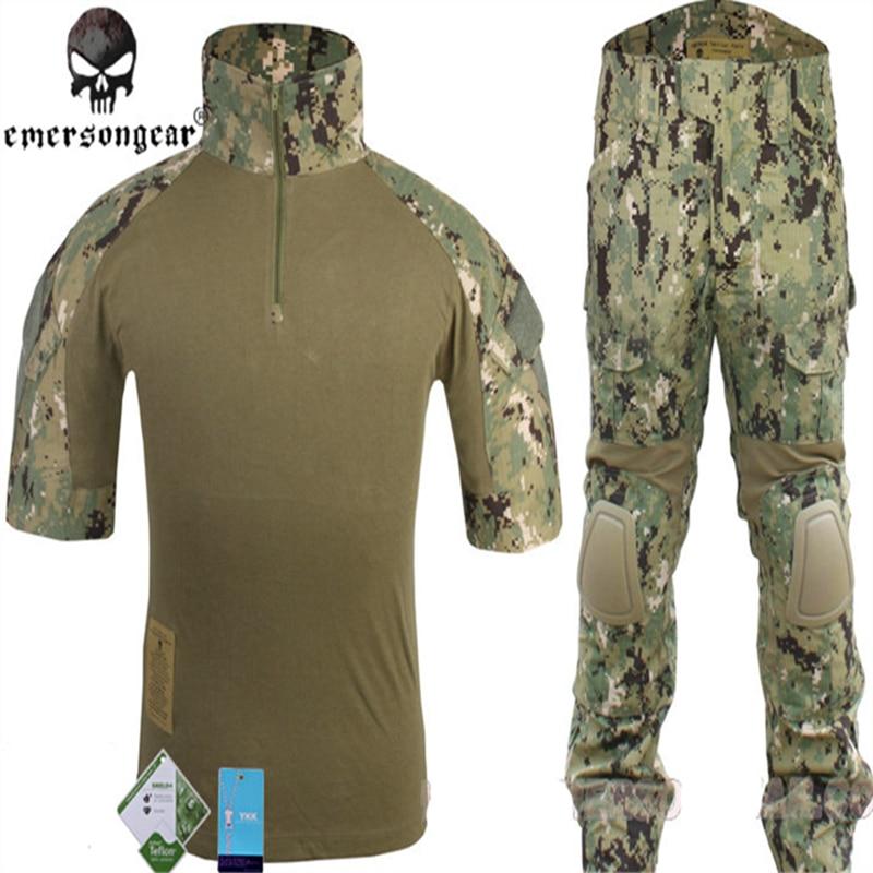 EmersonGear Airsoft Navy Seals Combat Suits Summer Edition Knee Pad short sleeve Kryptek Highlander AOR2 AOR1 MC JD ATFG