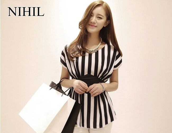 HTB1nNOKFVXXXXadXXXXq6xXFXXXk - New Spring Striped Print Chiffon Women Blouses Casual Tops Shirt