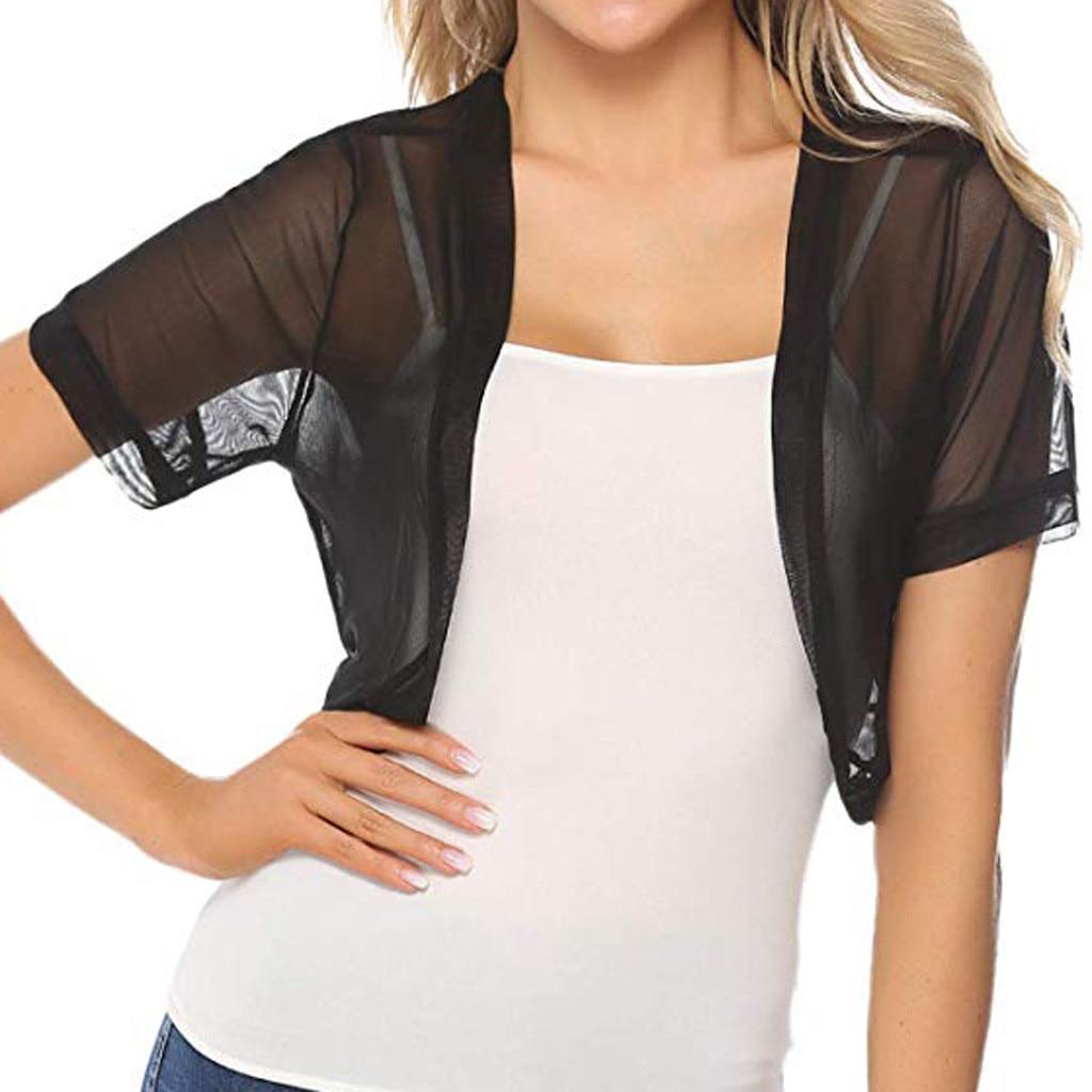 Fashion Mesh Top Women Clothes 2019 Chiffon Short Sleeve Solid Shrug Open Front Bolero Cardigan Tops Haut Femme Sexy Tee Shirt Юбка