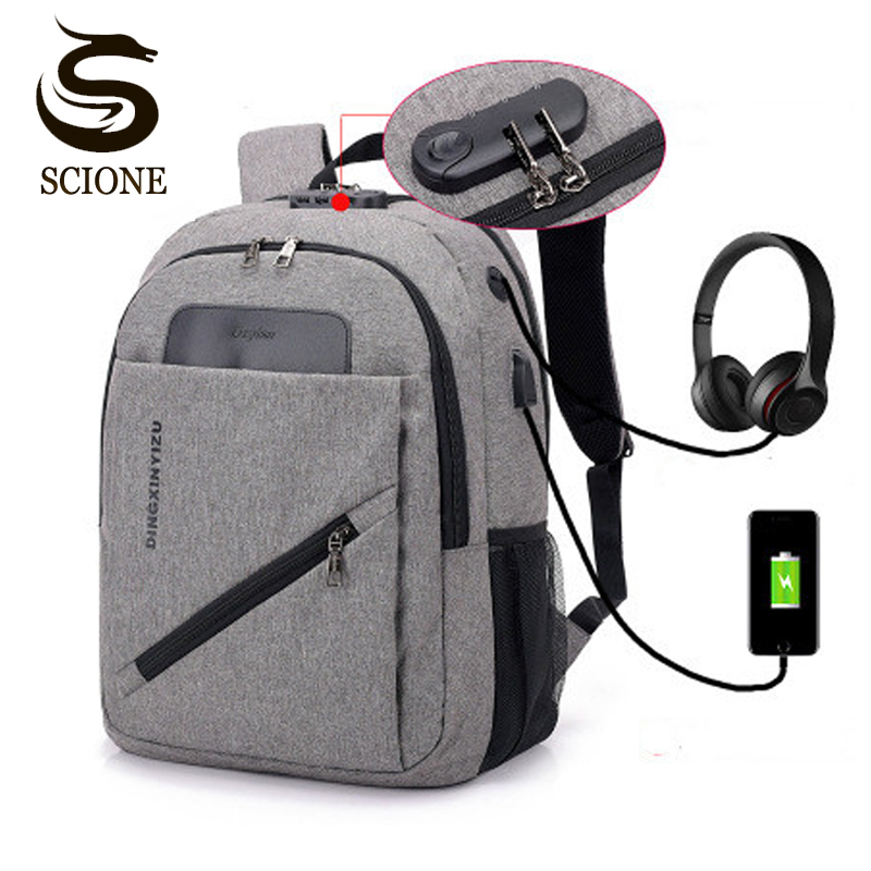 Backpack Anti Theft Password Locks USB Charging Laptop Travel Waterproof Collage School Bag For Teenager Students