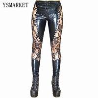 2017 New Women Sexy Lingerie Faux Leather Black Lace Up Leggings Wet look Rivets Clubwear Fashion Lace Gothic Pants Ladies S XL