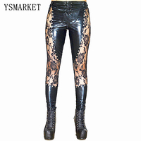 New Women Sexy Lingerie Faux Leather Black Lace Up Leggings Wet look Rivets Clubwear Fashion Lace Gothic Pants Ladies S XL