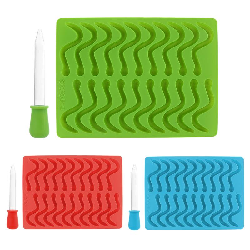 20 Cavity Snakes Strip Silicone Gummy Bear Chocolate Mold Candy Maker Ice Lattice Tray Jelly Mold Baking Tools ...